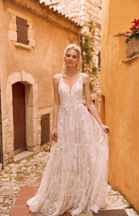 Vintage oder Boho florale Spitze im Hochzeitskleid